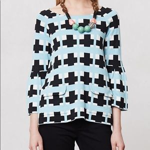 Anthropologie Moth Blue Plaid Swing Sweater R733